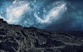 Картинка небо, космос, горы, скалы, звёзды