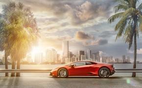 Картинка транспорт, автомобиль, небоскрёбы, Lamborghini Huracán, In Miami
