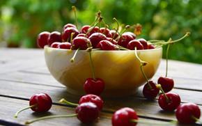 Картинка вишня, ягоды, миска, черешня, боке