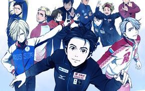 Картинка аниме, арт, фигуристы, парни, персонажи, Yuri on Ice, Юрий на льду, Victor Nikiforov