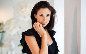 Картинка взгляд, девушка, лицо, поза, фото, рука, платье, Ирина Антоненко