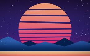 Картинка Солнце, Горы, Музыка, Стиль, Фон, Neon, 80's, Synth, Retrowave, Synthwave, New Retro Wave, Futuresynth, Синтвейв, …
