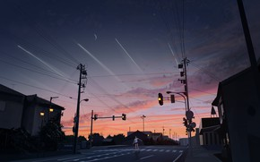 Картинка дорога, девушка, город, сумерки, светафор