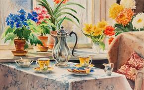 Картинка стол, кресло, чайник, печенье, окно, подушка, кружки, угощение, Акварель, домашний уют, Ольга Александровна Куликовская-Романова, цветы …