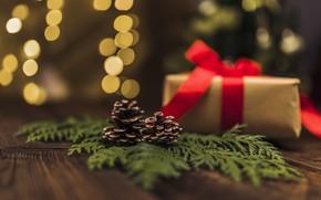 Картинка коробка, подарок, Новый Год, Рождество, лента, Christmas, box, wood, New Year, decoration, gifts, Merry, fir …