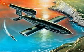 Картинка летит, реактивный, Gloster, Третий Рейх, Fi-103, на перехват, Buzz bomb, Крылатая ракета, Meteor F.Mk.I