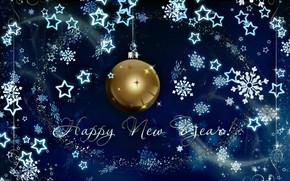 Картинка зима, снежинки, фон, шар, Новый год, New Year