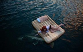 Картинка море, девушка, рыба