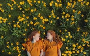 Картинка девочки, веснушки, рыжие волосы, нарциссы, Дарья Билык