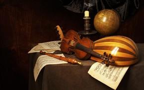 Картинка ноты, скрипка, свеча, натюрморт, флейта, глобус, мандолина