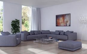 Картинка цветок, диван, лампа, интерьер, картина, кресло, подушки, столик, гостиная