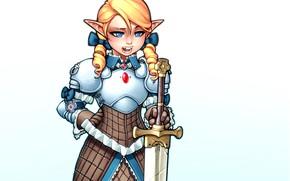 Картинка девушка, милая, эльф, меч, доспехи, блондинка, рыцарь, паладин