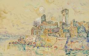 Картинка рисунок, акварель, 1910, Антиб, Поль Синьяк, Paul Signac