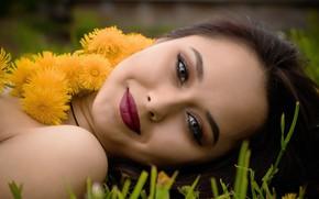 Картинка girl, flowers, lips, face, beautiful girl, portrait
