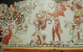 Картинка стиль, искусство, росписи, Паленке, фрески, майа, Сан-Бартоло, Murals and Monuments, Maya Exhibit, Mists of Palenque, …