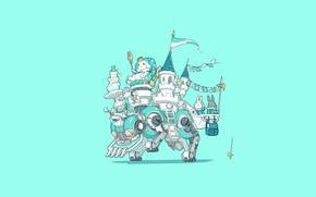 Картинка Art, Machine, Castle, Illustration, Minimalism, Characters, King, Bunny, Bunnies, Ren Wei Pan, Happy birthday to …