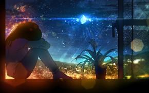 Картинка небо, девушка, ночь, окно, фэнтези, грустит