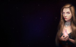 Картинка Девушка, Рисунок, Звезды, Глаза, Пирсинг, Арт, Art, Evi, madeinkipish, by Alexander Linblack, Alexander Linblack