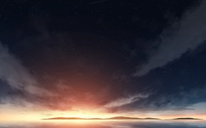 Картинка море, небо, звезды, закат
