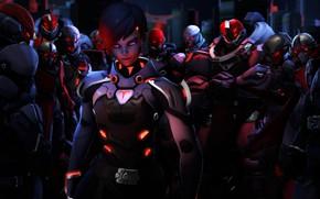 Картинка девушка, рендеринг, солдаты, хакер, Overwatch, sombra, Olivia Colomar