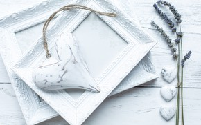 Картинка белый, сердце, рамка, лаванда