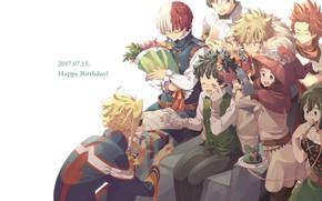 Картинка день рождения, подарки, друзья, Boku no Hero Academia, My Hero Academia, Моя геройская акадеимя, именинник
