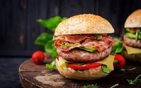 Картинка Гамбургер, помидоры, булка