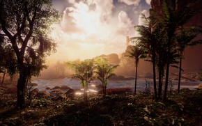 Картинка пейзаж, река, джунгли, эксклюзив, Playstation 4, Guerrilla Games, Horizon Zero Dawn