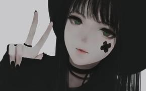 Картинка взгляд, девушка, знак, шляпа, Aoi Ogata