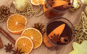Картинка апельсин, корица, Чай