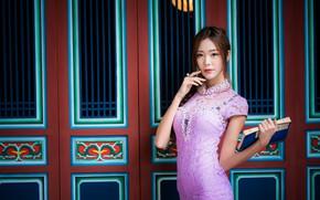 Картинка девушка, поза, платье, книга, азиатка