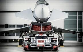 Картинка Фары, LMP1, 24 Hours of Le Mans, 24 часа Ле-Мана, Eurofighter Typhoon, Audi R18, 2015, …
