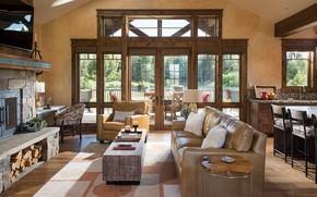 Картинка интерьер, кухня, гостиная, столовая, Rock Creek, by Cushing Terrell, Lake Cabin, Cattle Company