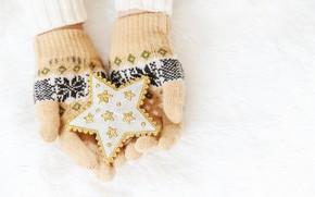 Картинка зима, снег, снежинки, звезда, love, christmas, star, pink, winter, варежки, snow, hands, snowflakes