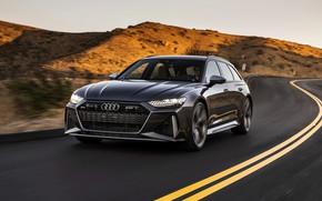 Картинка Audi, холмы, универсал, на дороге, RS 6, 2020, 2019, тёмно-серый, V8 Twin-Turbo, RS6 Avant
