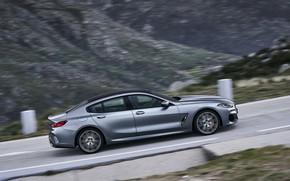 Картинка купе, BMW, вид сбоку, Gran Coupe, подъём, 8-Series, 2019, четырёхдверное купе, 8er, G16, серо-стальной