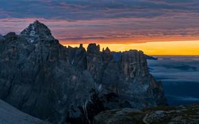 Картинка Italy, Sunrise, Mountains, Dolomites