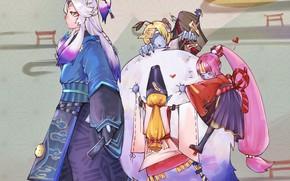 Картинка Onmyoji, Kyonshii Imouto, Onmyouji (NetEase), Kyonshii Ani, Kyonshii Otouto, Youko, Pixiv Id 13598909