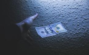 Картинка Green, Benjamin Franklin, Dollar, Shadow, Money, 100, Hand
