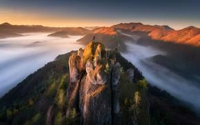 Картинка облака, пейзаж, закат, горы, природа, скалы, турист, Словакия, Национальный заповедник, Суловские скалы, Sulov rocks