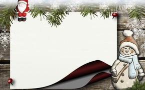 Картинка зима, снежинки, лист, бумага, праздник, игрушка, доски, Рождество, Новый год, снеговик, Санта Клаус, хвоя, новогодние …