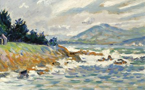 Картинка пейзаж, картина, 1895, Поль Синьяк, Paul Signac, Сен-Тропе. Порыв Восточного Ветра