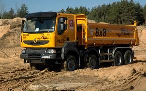 Картинка оранжевый, грузовик, Renault, 8x8, карьер, самосвал, четырёхосный, Renault Trucks, Kerax