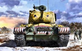 Картинка Снег, Солдаты, США, Танк, US Army, Patton, Корейская война 1950—1953 годов, М46