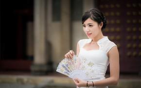 Картинка девушка, платье, веер, азиатка, боке