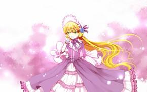 Картинка длинные волосы, оборки, розовое платье, gosick, капор, пышная юбка, victorique de broix, цветение сакуры