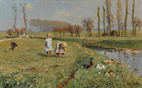 Картинка oil on canvas, немецкий художник- импрессионист, Hugo Mühlig, German Impressionist painter, Хьюго Мюлиг, Blumenpflückende Kinder, …