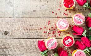Картинка розы, кексы, День Святого Валентина, Bondarenko Rimma