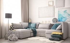 Картинка диван, часы, лампа, интерьер, подушки, картины