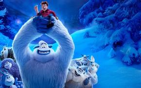 Картинка зима, лес, снег, деревья, синева, человек, мультфильм, существа, постер, персонажи, йети, Smallfoot, Смолфут